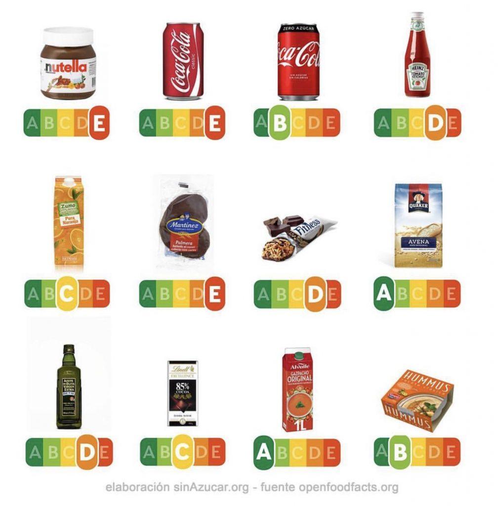 Algunos productos alimenticios y su calificación según su etiquetado NutriScore.